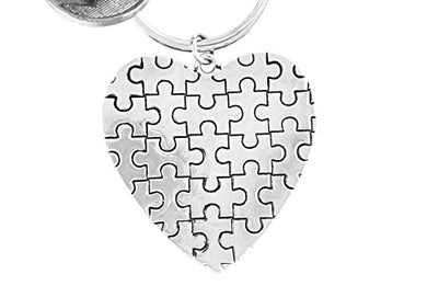 Autism Heart Key Chain, Hypoallergenic Adjustable Necklace. Nickel and Lead Free