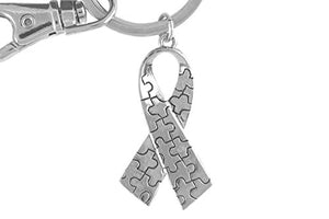 Autism Puzzle Ribbon Key Chain, Hypoallergenic Adjustable Necklace. Nickel and Lead Free