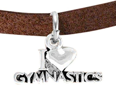 I Love Gymnastics Charm Bracelet, Adjustable, Hypoallergenic, Nickel, Lead & Cadmium Free!