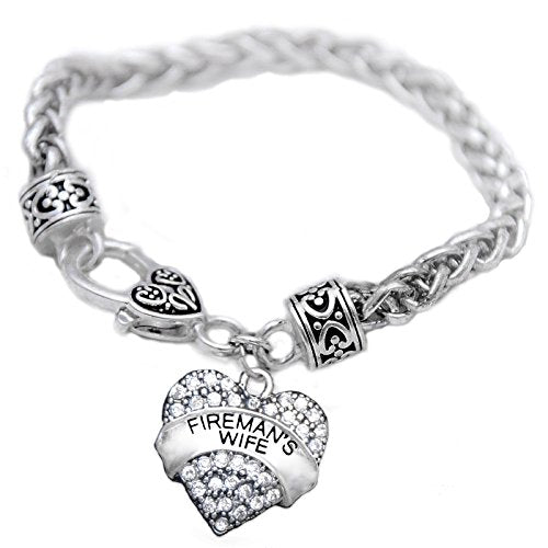 fireman's wife crystal heart bracelet, safe - nickel, lead & cadmium free!