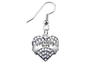 Fireman's Wife Crystal Heart Earring, Safe - Nickel, Lead & Cadmium Free!