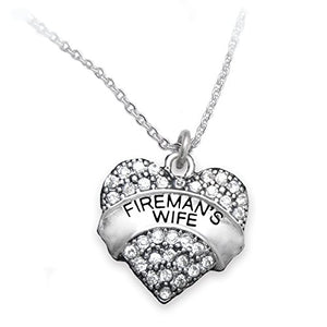 Fireman's Wife Crystal Heart Necklace, ©2015 Safe - Nickel, Lead & Cadmium Free!