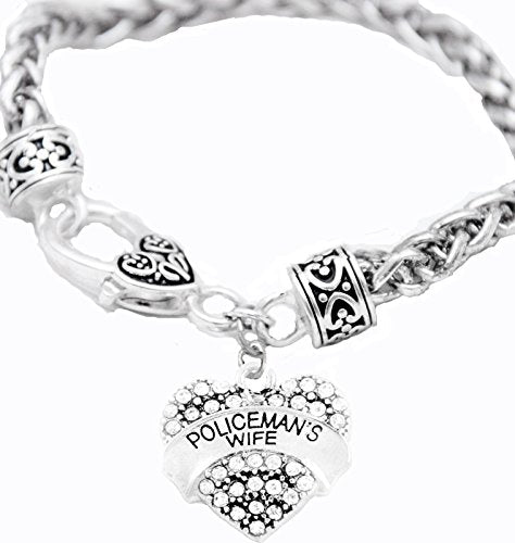policeman's wife crystal heart bracelet, safe - nickel, lead & cadmium free!