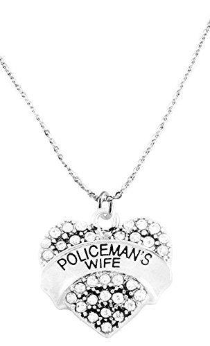 Policeman's Wife Crystal Heart Necklace, Safe - Nickel, Lead & Cadmium Free!
