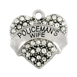 Policeman's Wife Crystal Heart Charm - Nickel Free - Fits Bracelet, Necklace, Anklet & Earrings