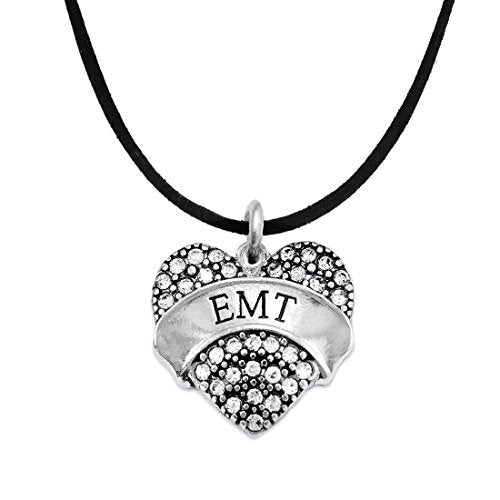 """the perfect gift """"emt"""" black suede hypoallergenic necklace, safe - nickel, lead & cadmium free!"""