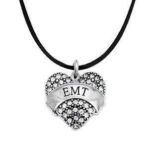 "The Perfect Gift ""EMT"" Black Suede Hypoallergenic Necklace, Safe - Nickel, Lead & Cadmium Free!"