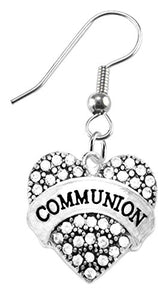 Communion Crystal Heart Earrings, Safe - Nickel, Lead & Cadmium Free!