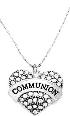 Communion Crystal Heart Necklace, Safe - Nickel, Lead & Cadmium Free!