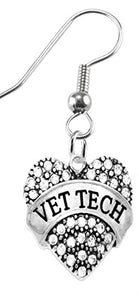 Vet Tech Crystal Heart Earrings, Safe - Nickel, Lead & Cadmium Free!