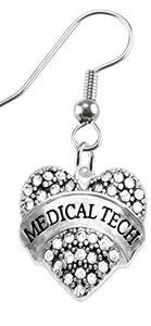 Medical Tech Crystal Heart Earrings, Safe - Nickel, Lead & Cadmium Free!