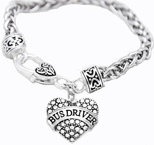 Bus Driver Crystal Heart Bracelet, Safe - Nickel, Lead & Cadmium Free!