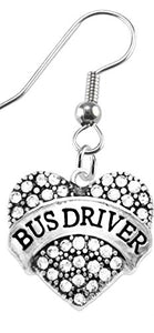 Bus Driver Crystal Heart Earrings, Safe - Nickel, Lead & Cadmium Free!
