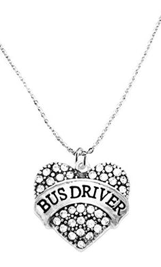 Bus Driver Crystal Heart Necklace, Safe - Nickel, Lead & Cadmium Free!