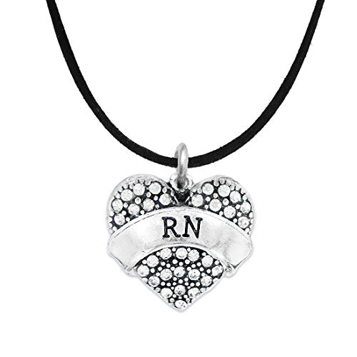 "the perfect gift ""rn"" adjustable hypoallergenic black suede necklace, safe - nickel & lead free!"
