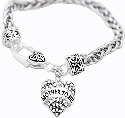 mother to be crystal heart bracelet, safe - nickel, lead & cadmium free!