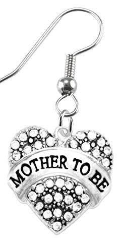mother to be crystal heart earrings, safe - nickel, lead & cadmium free!