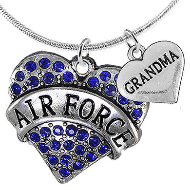 Air Force Grandma Heart Necklace, Adjustable, Will NOT Irritate Anyone with Sensitive Skin. Safe.