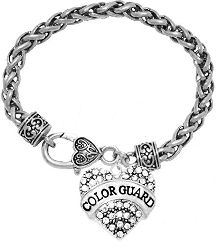 color guard crystal heart bracelet, safe - hypoallergenic, nickel, lead & cadmium free!