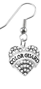 Color Guard Crystal Heart Earrings, Safe - Hypoallergenic, Nickel, Lead & Cadmium Free!