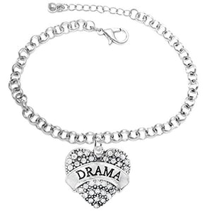 Drama Adjustable Crystal Heart Hypoallergenic Bracelet. Nickel and Lead Free!