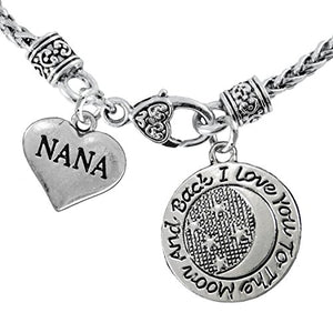 "Nana And ""I Love You to The Moon and Back"" Necklace Hypoallergenic, Safe - Nickel & Lead Free"