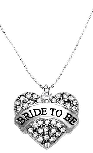 bride to be crystal heart necklace, safe - nickel, lead & cadmium free!