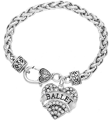 ballet crystal heart hypoallergenic bracelet. nickel and lead free!