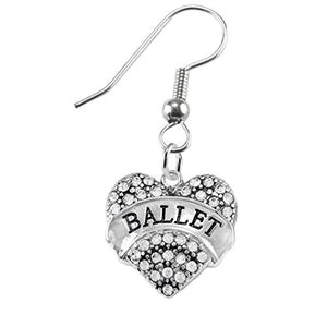 Ballet Crystal Heart Hypoallergenic Earring. Nickel and Lead Free!
