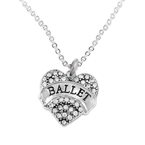 Ballet Crystal Heart Hypoallergenic Necklace. Nickel and Lead Free!