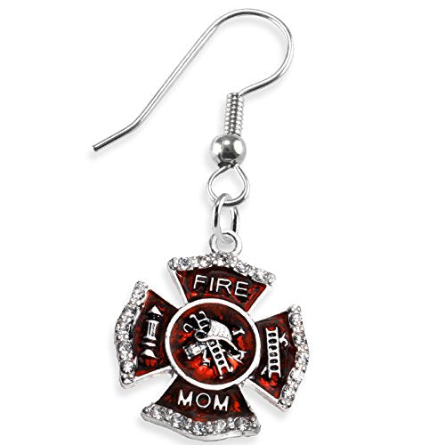 firefighter's mom crystal earring, safe - nickel, lead & cadmium free!