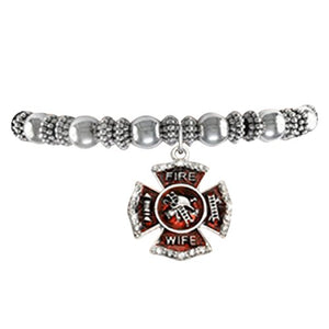 "Firefighter's Wife Stretch Bracelet ©2015 Hypoallergenic"" Safe - Nickel, Lead & Cadmium Free!"