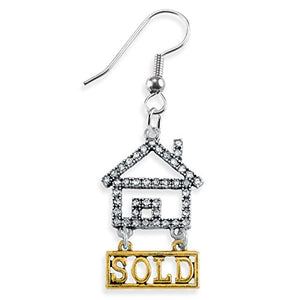 Real Estate Sold Crystal Earring, Safe - Nickel, Lead & Cadmium Free!