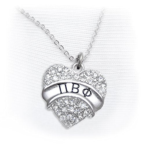 pi beta phi crystal heart necklace - licensed sorority jewelry manufacturer