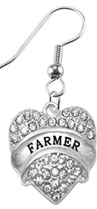 Farmer Hypoallergenic Crystal Heart Earring