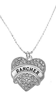 Rancher Hypoallergenic Crystal Heart Cable Chain Necklace