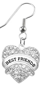 Best Friends Crystal Heart Earrings,