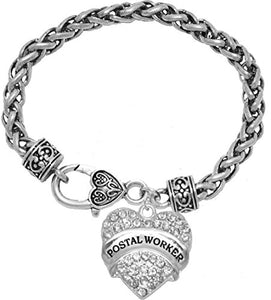 Postal Worker Crystal Heart Bracelet, Safe - Hypoallergenic, Nickel, Lead & Cadmium Free!