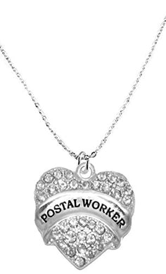 Postal Worker Crystal Heart Necklace, Safe - Hypoallergenic, Nickel, Lead & Cadmium Free!