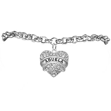 Abuela Adjustable Crystal Heart Bracelet, ©2015 Safe - Hypoallergenic, Nickel, Lead & Cadmium Free!