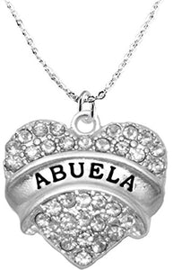 Abuela Crystal Heart Necklace, Safe - Hypoallergenic, Nickel, Lead & Cadmium Free!