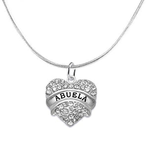 Abuela Crystal Heart Necklace, ©2015 Safe - Hypoallergenic, Nickel, Lead & Cadmium Free!