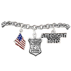 "Policeman "" American Hero "" Policeman's Wife Hypoallergenic Adjustable Bracelet Nickel & Lead Free"