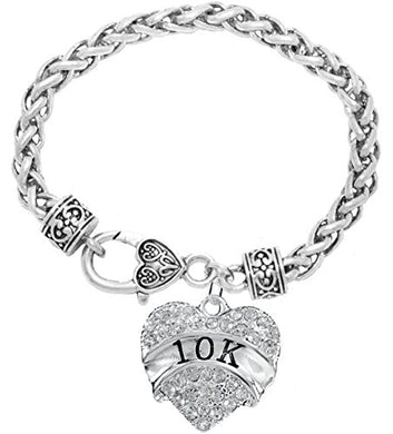 10 K Running Crystal Heart Bracelet - Hypoallergenic Nickel, and Lead Free!