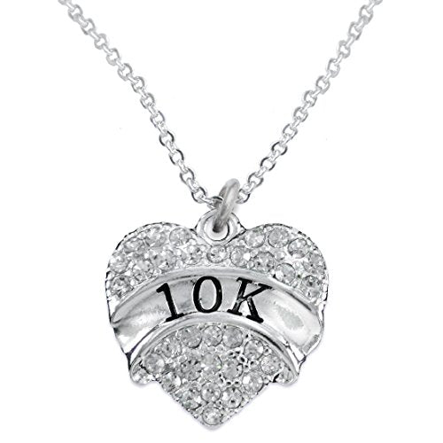 10 K Running Crystal Heart Necklace- Hypoallergenic Nickel, and Lead Free!