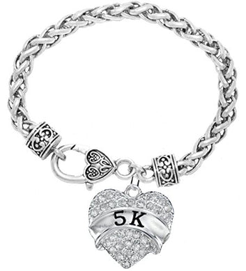 5 K Running Crystal Heart Bracelet - Hypoallergenic Nickel, and Lead Free!