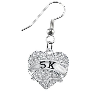 5 K Running Crystal Heart Earring- Hypoallergenic Nickel, and Lead Free!