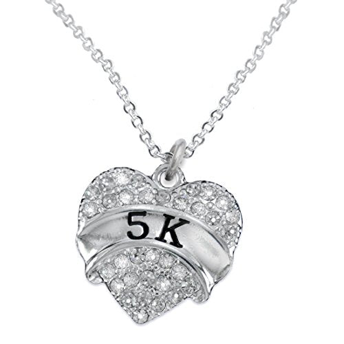 5 K Running Crystal Heart Necklace- Hypoallergenic Nickel, and Lead Free!