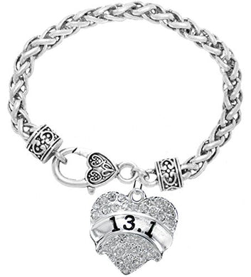 13.1 Running Crystal Heart Bracelet - Hypoallergenic Nickel, and Lead Free!
