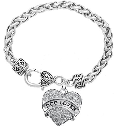 Dog Lover Crystal Heart Hypoallergenic Bracelet. Nickel and Lead Free!